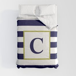 Monogram Letter C in Navy Blue and White Comforters