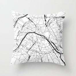Paris Minimal Map Throw Pillow