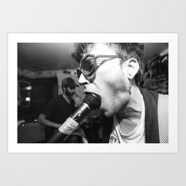 Man With Microphone in his Mouth Art Print