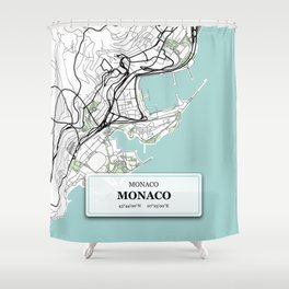 Monaco City Map with GPS Coordinates Shower Curtain