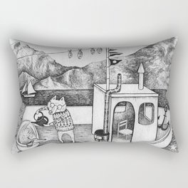 Fox on Fishing-boat Rectangular Pillow