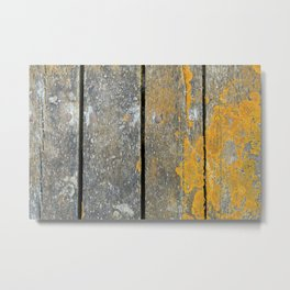 Ocean Weathered Wood With Lichen Metal Print