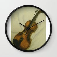 violin Wall Clocks featuring Violin by Camille Anastasia