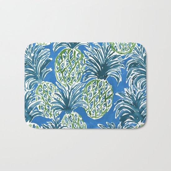LAPIS PINEAPPLE O'CLOCK Tropical Print Bath Mat