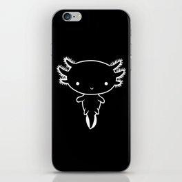 Minimalistic Cute Axolotl White Outline iPhone Skin