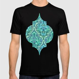 Botanical Moroccan Doodle Pattern in Mint Green, Lilac & Aqua T-shirt