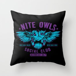 Nite Owls Social Club Throw Pillow