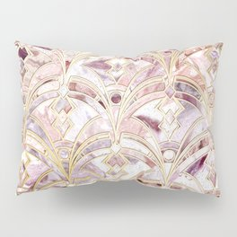 Dusty Rose and Coral Art Deco Marbling Pattern Pillow Sham