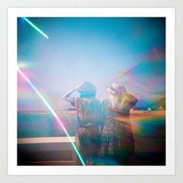 """Rainbow Sisters on the Shoreline"" Holga photograph Art Print"