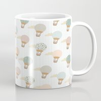 baloon Mugs featuring baloon collage pattern  by flying bathtub