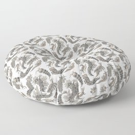 Ernst Haeckel Nudibranch Sea Slugs Monochrome Silver Floor Pillow