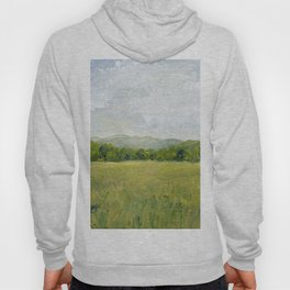 Vermont Landscape Mountain Fields Trees Pastures Oil Painting Hoody