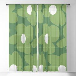 Spring Green Retro Flowers Dark Green Background #decor #society6 #buyart Sheer Curtain