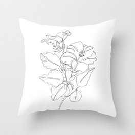 Floral one line drawing - Hibiscus Throw Pillow