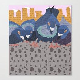 Pigeon Feast Canvas Print
