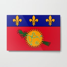 Guadeloupe Flag with Map of Guadeloupe Metal Print