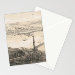 Vintage Pictorial Map of Genoa Italy (1850s) Stationery Cards