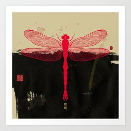 Big Dragonfly In Red And Black Art Print