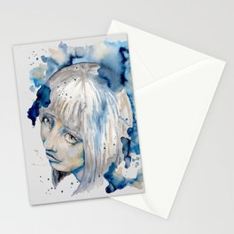 Nieves watercolor portrait by carographic Stationery Cards
