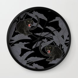 Black Panthers on Black. Wall Clock
