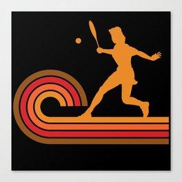 Retro Style Tennis Player Silhouette Sports Canvas Print