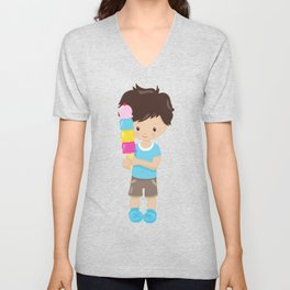 Boy With Ice Cream, Brown Hair, Blue Shirt, Shorts Unisex V-Neck