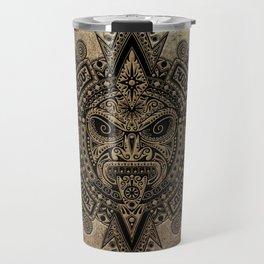 Ancient Stone Mayan Sun Mask Travel Mug