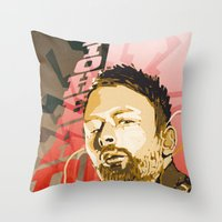 radiohead Throw Pillows featuring Radiohead by Ferdinand Bardamu
