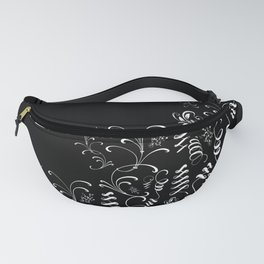 Delicate and Abstract Black and White Leaf Decor Fanny Pack