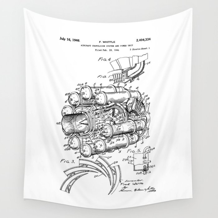 Jet Engine Frank Whittle Turbojet Engine Patent Wall Tapestry By