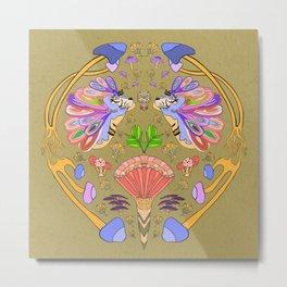 Fantasy Tiger Illustration // Mushrooms, Fantasy Mushroom's, Multicolored Mane Metal Print