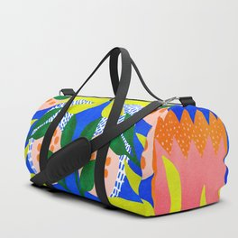 Bold Flowers on Blue Duffle Bag