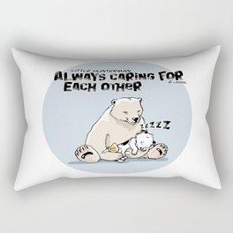 Little Hunterman – Always Caring for Each Other / blue circle Rectangular Pillow