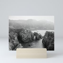 Ocean Arches | Black and White Nature Landscape Photography in California Mini Art Print