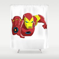 iron man Shower Curtains featuring Iron Man by Krazy Squirrel
