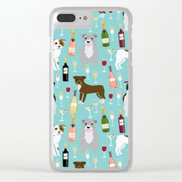Pitbull wine champagne dog breed pet portrait pet friendly gifts for dog lovers Clear iPhone Case