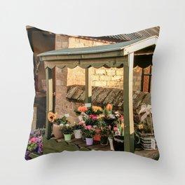 Flower cart in English village Throw Pillow