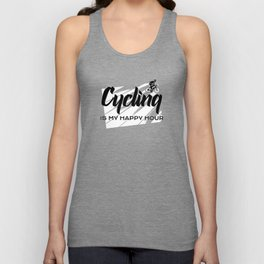 cycling is my happy hour Unisex Tank Top