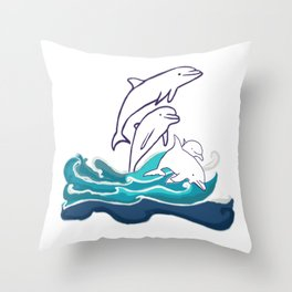 Happy Dolphins Throw Pillow