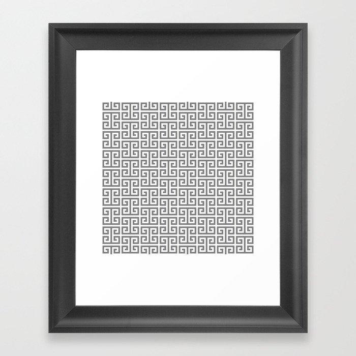 Gray and White Greek Key Pattern Gerahmter Kunstdruck