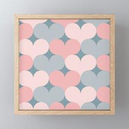 Heart pattern. Pink and gray Framed Mini Art Print