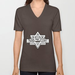 Bar Mitzvah with silver scroll &  Star of David  Unisex V-Neck