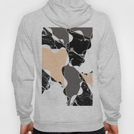 Modern black white marble gray peach color block Hoody