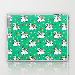 Panda family on meadow in wreaths Laptop & iPad Skin