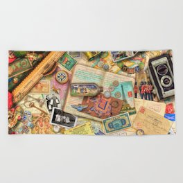 Vintage World Traveler Beach Towel