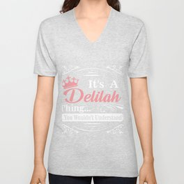 First Name T-Shirt Delilah Personalized Birthday Gift Unisex V-Neck