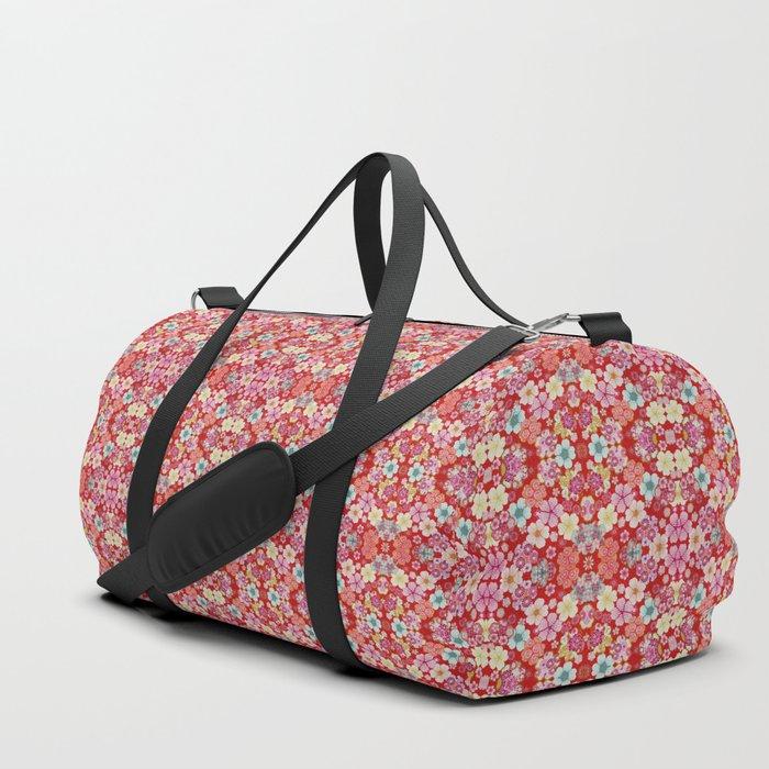 Crimson Floral Chirimen Duffle Bag