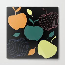 happy apple kitchen decor pattern food Fruit pattern Metal Print