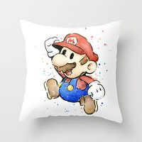 mario bros Throw Pillows featuring Mario Watercolor by Olechka