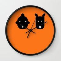 tintin Wall Clocks featuring tintin & milu by atipo